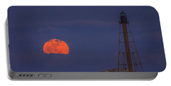 Winter Moon Rising Over Marblehead Light Portable Battery Charger by Jeff Folger