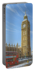 Winter Morning Big Ben Elizabeth Tower London Portable Battery Charger by Richard Harpum