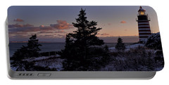 Winter Sentinel Lighthouse Portable Battery Charger by Marty Saccone