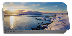 Winter Sunset In Iceland Portable Battery Charger