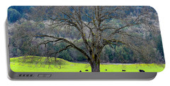 Winter Tree With Cows By The Umpqua River Portable Battery Charger