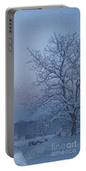 Winter Trees On West Michigan Farm At Sunrise Portable Battery Charger