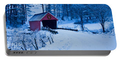 winter Vermont covered bridge Portable Battery Charger