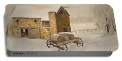 Portable Battery Charger featuring the painting Winter Wine by Alan Lakin