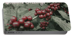 Winterberry Greetings Portable Battery Charger by Photographic Arts And Design Studio