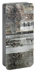 Portable Battery Charger featuring the photograph Wintering Geese On Silver Lake by Kim Bemis
