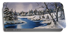 Portable Battery Charger featuring the painting Winter's Blanket by Sharon Duguay