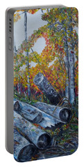 Portable Battery Charger featuring the painting Winter's Firewood by Marilyn  McNish