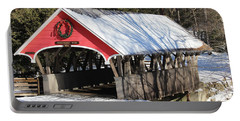 Wintry Flume Covered Bridge Portable Battery Charger