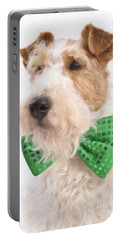 Wire Fox Terrier With Bowtie Portable Battery Charger by Verena Matthew
