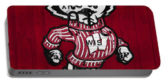 Wisconsin Badgers College Sports Team Retro Vintage Recycled License Plate Art Portable Battery Charger by Design Turnpike