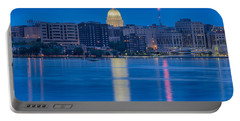 Portable Battery Charger featuring the photograph Wisconsin Capitol Reflection by Sebastian Musial