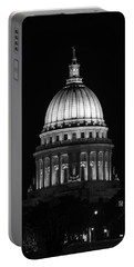 Wisconsin State Capitol Building At Night Black And White Portable Battery Charger