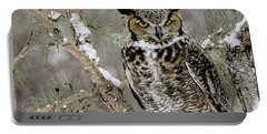 Wise Old Great Horned Owl Portable Battery Charger