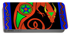 Portable Battery Charger featuring the digital art Witches Dragon by Vagabond Folk Art - Virginia Vivier