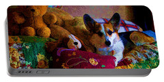 With His Friends On The Bed Portable Battery Charger by Mick Anderson