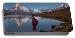 With The Matterhorn In The Background Portable Battery Charger
