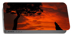 Wolf Calling For Mate Sunset Silhouette Series Portable Battery Charger