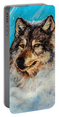 Portable Battery Charger featuring the painting Wolf In A Snow Storm by Bob and Nadine Johnston