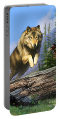 Portable Battery Charger featuring the painting Wolf Run Indian Hunter by Rob Corsetti