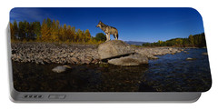 Wolf Standing On A Rock Portable Battery Charger