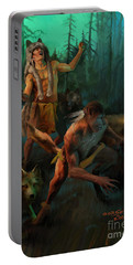 Portable Battery Charger featuring the painting Wolf Warriors Change by Rob Corsetti
