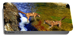 Portable Battery Charger featuring the digital art Wolves by Daniel Janda