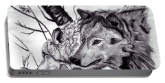 Portable Battery Charger featuring the drawing Wolves by Mayhem Mediums