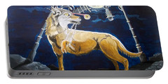 Portable Battery Charger featuring the painting Wolves Mouth  by Lazaro Hurtado