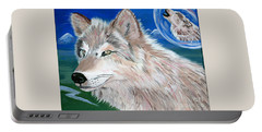 Portable Battery Charger featuring the painting Wolves by Phyllis Kaltenbach