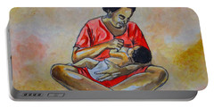 Portable Battery Charger featuring the drawing Woman And Child by Anthony Mwangi