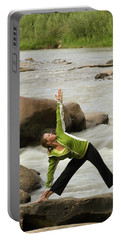 Woman Doing Yoga By River Portable Battery Charger