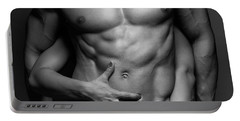 Woman Hands Touching Muscular Man's Body Portable Battery Charger
