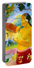 Woman Holding Fruit Portable Battery Charger by Henryk Gorecki