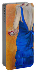 Woman In Blue Portable Battery Charger