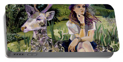 Woman In Hat Dreams With Stag Portable Battery Charger