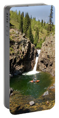 Woman In Kayak Below Waterfall Portable Battery Charger