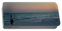 Woman On Beach At Dusk Portable Battery Charger