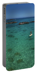 Woman Paddle Boarding In Ocean, Hawaii Portable Battery Charger