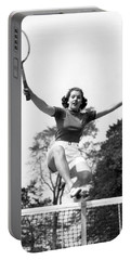 Woman Player Leaping Over Net Portable Battery Charger