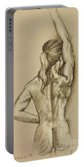 Portable Battery Charger featuring the drawing Woman Sketch by Rob Corsetti