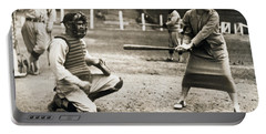Woman Tennis Star At Bat Portable Battery Charger by Underwood Archives