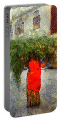 Woman With Ker Leaves India Rajasthan Jaisalmer Portable Battery Charger