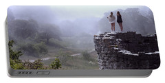 Women Overlooking Bright Foggy Valley Portable Battery Charger