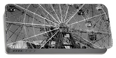 Wonder Wheel Of Coney Island In Black And White Portable Battery Charger