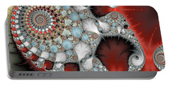 Wonderful Abstract Fractal Spirals Red Grey Yellow And Light Blue Portable Battery Charger