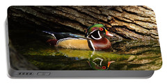 Wood Duck In Wood Portable Battery Charger by Robert Frederick