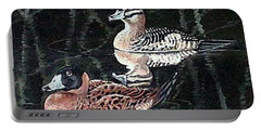 Portable Battery Charger featuring the painting Wood Ducks Study by Donna Tucker