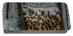 Wood Pile Portable Battery Charger by Paul Freidlund