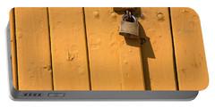 Wooden Plank Door Steel Lock Portable Battery Charger